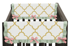 Baby Crib Side Rail Guard Covers for Gold, Mint, Coral and White Ava Collection - Set of 2