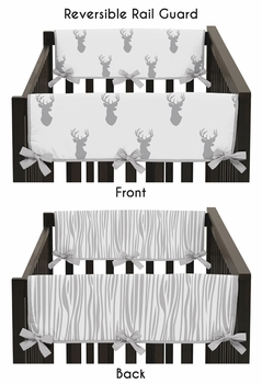 Baby Crib Side Rail Guard Covers for Grey and White Woodland Deer by Sweet Jojo Designs - Set of 2