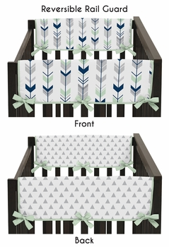 Baby Crib Side Rail Guard Covers for Grey, Navy Blue and Mint Woodland Arrow Collection by Sweet Jojo Designs - Set of 2
