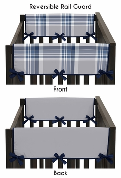 Baby Crib Side Rail Guard Covers for Navy and Grey Plaid Collection by Sweet Jojo Designs - Set of 2