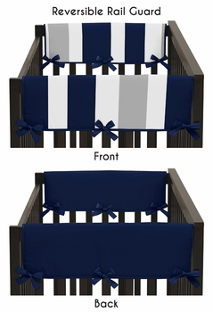Baby Crib Side Rail Guard Covers for Navy Blue and Gray Stripe Collection by Sweet Jojo Designs - Set of 2