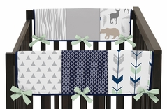 Baby Crib Side Rail Guard Covers for Navy, Mint and Grey Woodsy Collection by Sweet Jojo Designs - Set of 2
