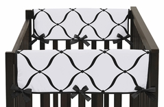 Baby Crib Side Rail Guard Covers for Pink, Black and White Princess Collection by Sweet Jojo Designs - Set of 2