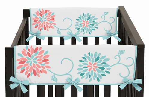 Baby Crib Side Rail Guard Covers for Turquoise and Coral Emma Collection by Sweet Jojo Designs - Set of 2 - Click to enlarge