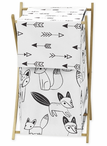 Baby/Kids Clothes Laundry Hamper for Black and White Fox Bedding by Sweet Jojo Designs - Click to enlarge