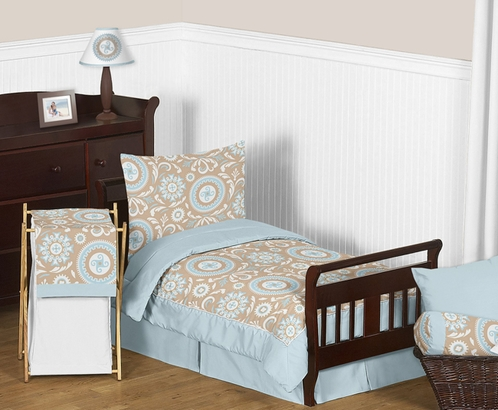 Blue and Taupe Hayden Toddler Bedding - 5pc Set by Sweet Jojo Designs - Click to enlarge