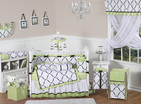 Green, Black and White Princess Baby Bedding - 9 pc Crib Set - Click to enlarge