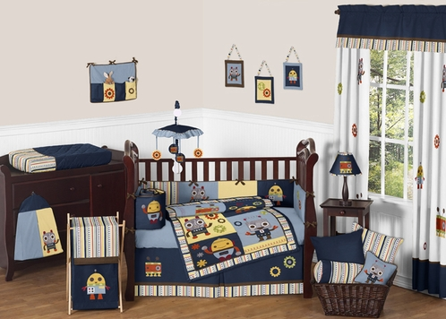 Modern Robot Baby Bedding - 9pc Crib Set by Sweet Jojo Designs - Click to enlarge