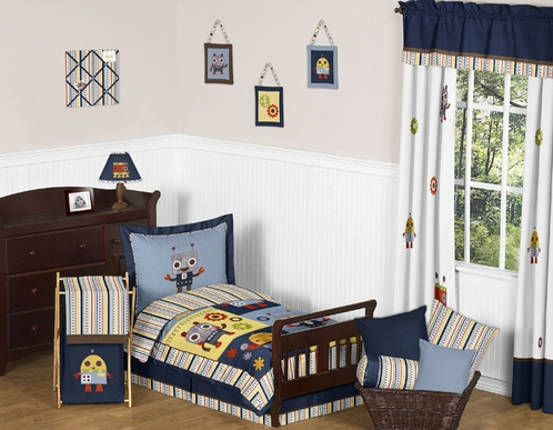 Modern Robot Toddler Bedding - 5pc Set by Sweet Jojo Designs - Click to enlarge