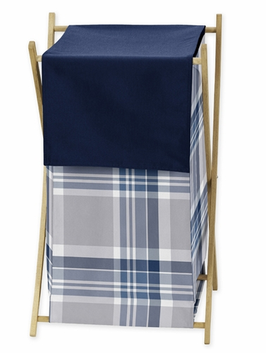 Baby Kids Clothes Laundry Hamper For Navy Blue And Grey Plaid Boys Bedding Click