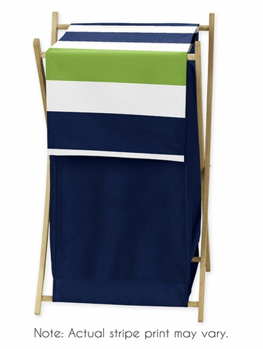 Baby/Kids Clothes Laundry Hamper for Navy Blue and Lime Green Stripe Bedding - Click to enlarge