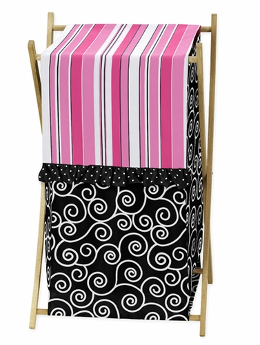 Baby/Kids Clothes Laundry Hamper for Pink and Black Madison Bedding - Click to enlarge
