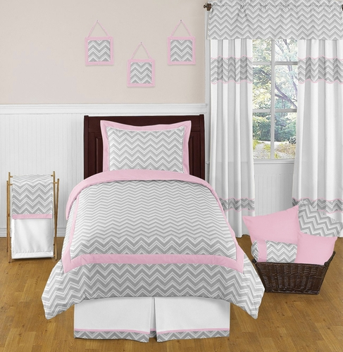 Pink and gray chevron childrens and kids bedding 4pc for Zig zag bedroom ideas