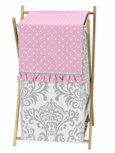 Baby/Kids Clothes Laundry Hamper for Pink, Gray and Turquoise Skylar Bedding - Click to enlarge