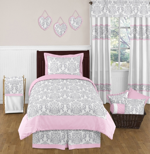 pink gray and white elizabeth childrens and kids bedding 4pc twin set by sweet jojo designs. Black Bedroom Furniture Sets. Home Design Ideas