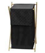 Baby/Kids Clothes Laundry Hamper for Solid Black Minky Dot Bedding by Sweet Jojo Designs
