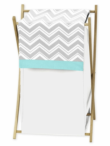 Baby/Kids Clothes Laundry Hamper for Turquoise and Gray Chevron Zig Zag Bedding by Sweet Jojo Designs - Click to enlarge