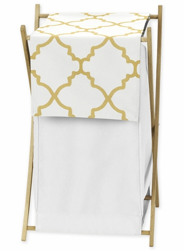 Baby/Kids Clothes Laundry Hamper for White and Gold Trellis Bedding by Sweet Jojo Designs - Click to enlarge