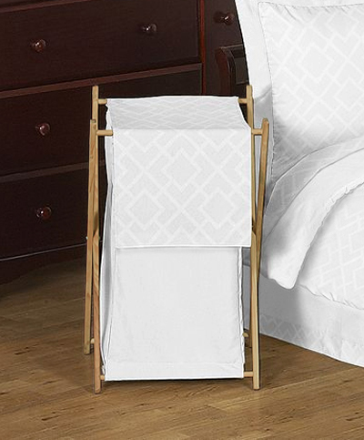 Baby/Kids Clothes Laundry Hamper for White Diamond Jacquard Modern Bedding by Sweet Jojo Designs - Click to enlarge