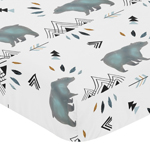 Baby or Toddler Fitted Crib Sheet for Bear Mountain Watercolor Collection by Sweet Jojo Designs