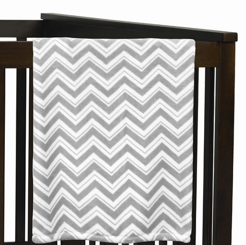 Baby Plush Blanket for Gray and Black Zig Zag Collection by Sweet Jojo Designs - Click to enlarge