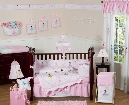Ballet Dancer Ballerina Baby Bedding - 9 pc Crib Set - Click to enlarge