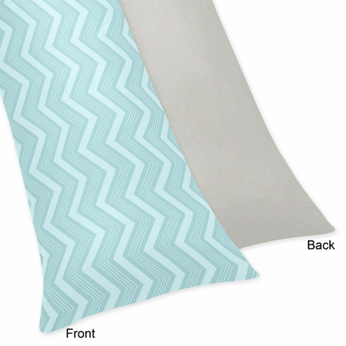 Balloon Buddies Blue Chevron and Gray Full Length Double Zippered Body Pillow Case Cover - Click to enlarge