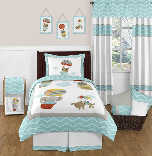 Balloon Buddies Chevron 4pc Twin Bedding Set by Sweet Jojo Designs - Click to enlarge