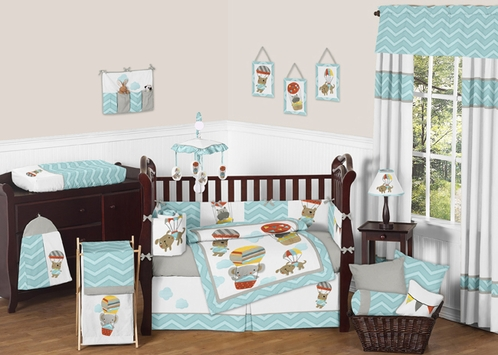 Balloon Buddies Chevron Baby Bedding - 9pc Crib Set by Sweet Jojo Designs - Click to enlarge