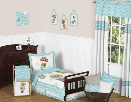 Balloon Buddies Chevron Toddler Bedding - 5pc Set by Sweet Jojo Designs - Click to enlarge
