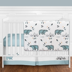 Bear Mountain Watercolor Baby Boy Crib Bedding Set without Bumper by Sweet Jojo Designs - 11 pieces