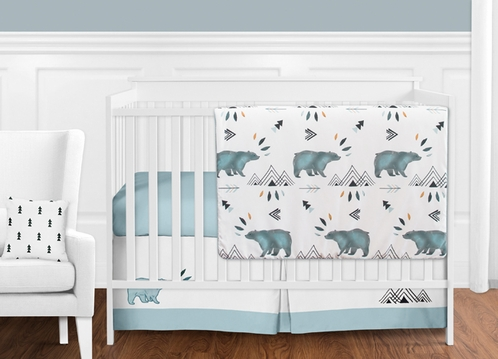 Bear Mountain Watercolor Baby Boy Crib Bedding Set Without
