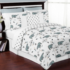 Bear Mountain Watercolor Boy Full / Queen Kid Childrens Teen Bedding Comforter Set by Sweet Jojo Designs - 3 pieces