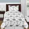 Bear Mountain Watercolor Boy Twin Kid Childrens Bedding Comforter Set by Sweet Jojo Designs - 4 pieces