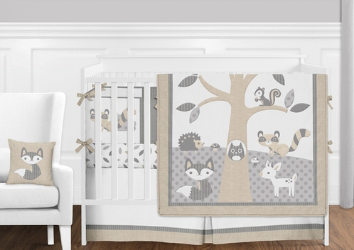 Beige Grey and White Woodland Forest Animal Deer Baby Boy or Girl Crib Bedding Set with Bumper by Sweet Jojo Designs - 9 pieces - Click to enlarge
