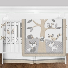 Beige Grey and White Woodland Forest Animal Deer Baby Boy or Girl Crib Bedding Set with Bumper by Sweet Jojo Designs - 9 pieces