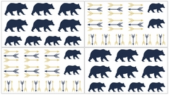 Navy Blue, Gold, and White Arrows Wall Decal Stickers For Big Bear Collection by Sweet Jojo Designs - Set of 4 Sheets