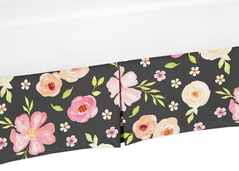 Black and Blush Pink Baby Girl Pleated Crib Bed Skirt Dust Ruffle for Watercolor Floral Collection by Sweet Jojo Designs - Rose Flower