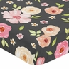 Black and Blush Pink Baby or Toddler Fitted Crib Sheet for Watercolor Floral Collection by Sweet Jojo Designs - Rose Flower