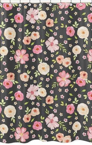 Black and Blush Pink Bathroom Fabric Bath Shower Curtain for Watercolor Floral Collection by Sweet Jojo Designs - Rose Flower - Click to enlarge