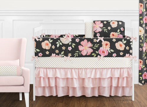Black, Blush Pink and Gold Shabby Chic Watercolor Floral Baby Girl Crib Bedding Set with Bumper by Sweet Jojo Designs - 9 pieces - Rose Flower Polka Dot - Click to enlarge