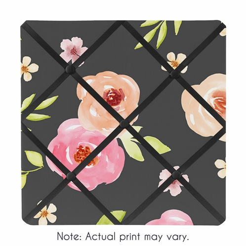 Black and Blush Pink Fabric Memory Memo Photo Bulletin Board for Watercolor Floral Collection by Sweet Jojo Designs - Rose Flower - Click to enlarge