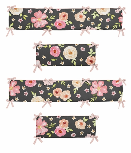 Black and Blush Pink Shabby Chic Baby Crib Bumper Pad for Watercolor Floral Collection by Sweet Jojo Designs - Rose Flower - Click to enlarge