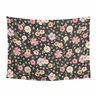 Black and Blush Pink Shabby Chic Wall Hanging Tapestry Art Decor for Watercolor Floral Collection by Sweet Jojo Designs - Rose Flower - 60in. x 80in.