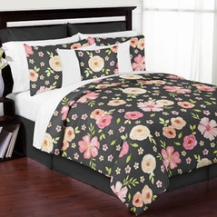 Black and Blush Pink Shabby Chic Watercolor Floral Girl Full / Queen Kids Teen Bedding Comforter Set by Sweet Jojo Designs - 3 pieces - Rose Flower