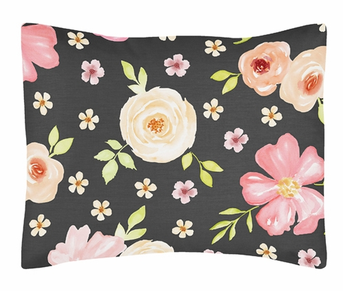 Black and Blush Pink Standard Pillow Sham for Watercolor Floral Collection by Sweet Jojo Designs - Rose Flower - Click to enlarge