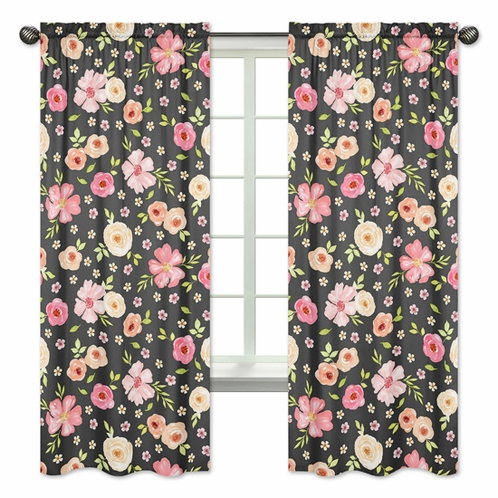 Black and Blush Pink Window Treatment Panels Curtains for Watercolor Floral Collection by Sweet Jojo Designs - Set of 2 - Rose Flower - Click to enlarge