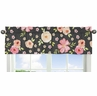 Black and Blush Pink Window Treatment Valance for Watercolor Floral Collection by Sweet Jojo Designs - Rose Flower