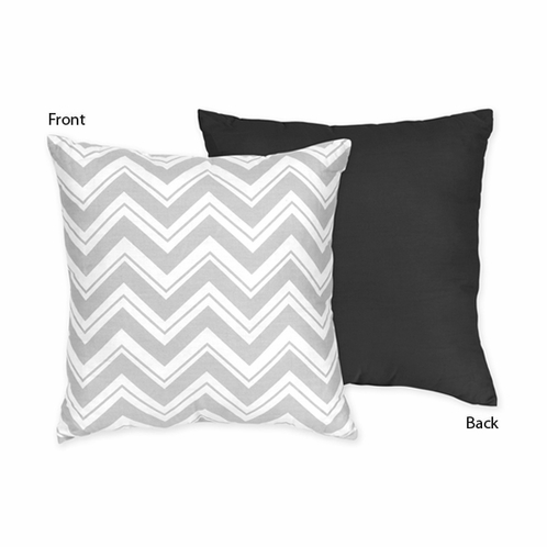 Black and Gray Chevron Zig Zag Decorative Accent Throw Pillow by Sweet Jojo Designs - Click to enlarge