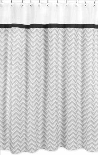 Black and Gray Chevron Zig Zag Kids Bathroom Fabric Bath Shower Curtain by Sweet Jojo Designs - Click to enlarge